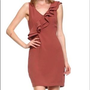LAST ONE Copper Sleeveless Dress w/ Ruffle Detail